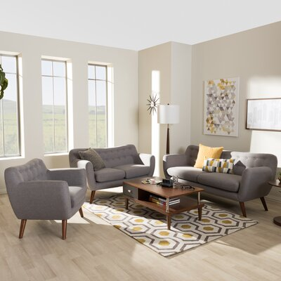 Bianca 3-Piece Living Room Set Upholstery Color: Light Gray
