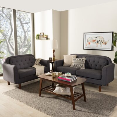 Liliana 2 Piece Living Room Set Upholstery Color: Dark Gray