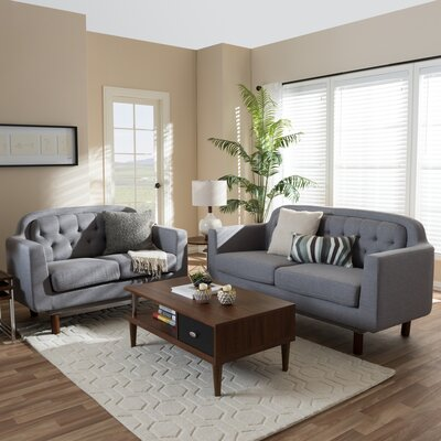 Liliana 2-Piece Living Room Set Upholstery Color: Light Gray