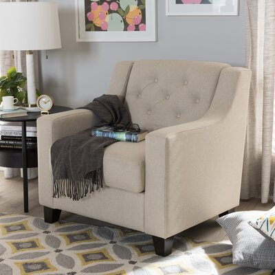 Baxton Studio Silvia Upholstered Button-Tufted Armchair Upholstery: Light Beige