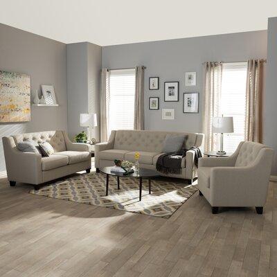 Baxton Studio Silvia 3-Piece Living Room Sofa Set Upholstery: Light Beige