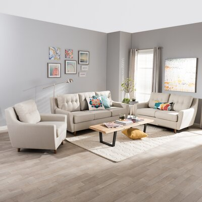 Alcee 3 Piece Living Room Set