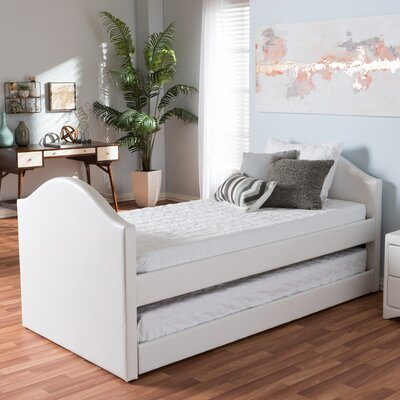 Baxton Studio Twin Bed with Trundle Color: White