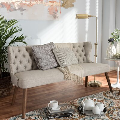 Santo Wood Upholstered Loveseat Upholstery: Light Beige