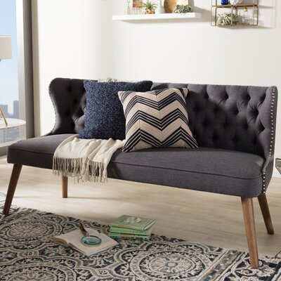 Baxton Studio Wood Upholstered Loveseat Color: Dark Gray