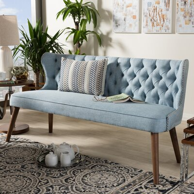 Baxton Studio Wood Upholstered Loveseat Color: Light Blue