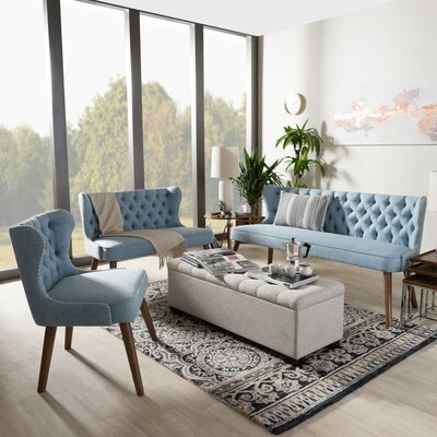 Baxton Studio 3 Piece Living Room Set Color: Light Blue