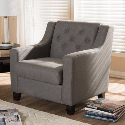 Baxton Studio Silvia Upholstered Button-Tufted Armchair Upholstery: Gray