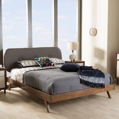 Baxton Studio Upholstered Platform Bed Size: King