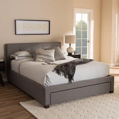 Baxton Studio Upholstered Storage Platform Bed Size: King, Finish: Grey