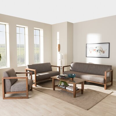 Baxton Studio Valencia Mid-Century 3 Piece Living Room Set