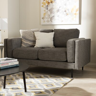 Baxton Studio Brittany Retro Mid-Century Loveseat Finish: Gray