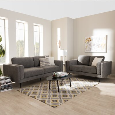 Baxton Studio Brittany 2 Piece Living Room Set Upholstery: Gray
