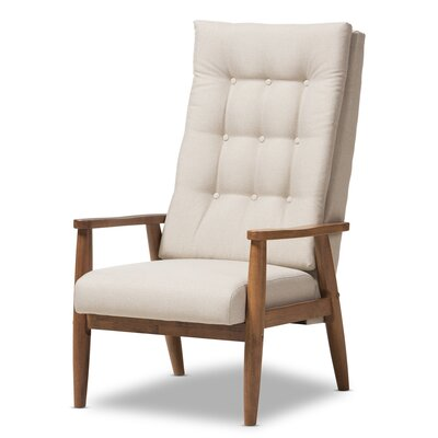 Baxton Studio Rio Upholstered Armchair Color: Light Beige