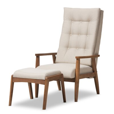 Baxton Studio Rio Upholstered Lounge Chair and Ottoman Color: Light Beige