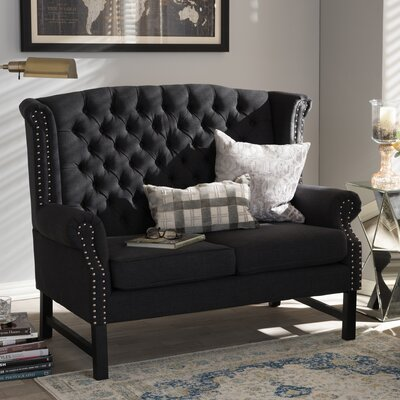 Baxton Studio Remington Tufted Loveseat in Charcoal