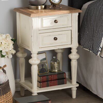 Baxton Studio Elda French Provincial 2 Drawer Nightstand