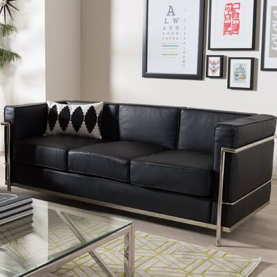 Utley Leather Sofa in Black
