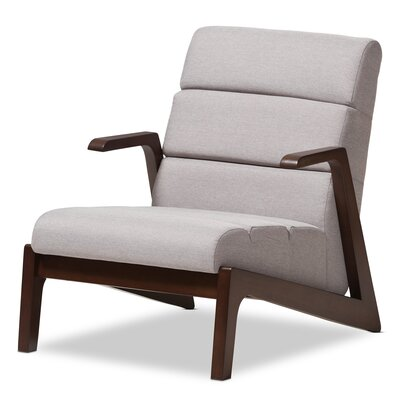 Lazzaro Mid-Century Modern Wood Fabric Lounge Chair