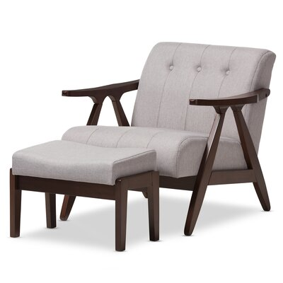 Enrico Mid-Century Modern Lounge Chair and Ottoman