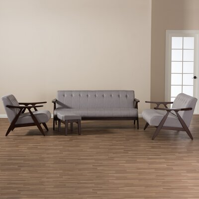 Enrico Mid-Century Modern Wood Fabric 4 Piece Living Room Set