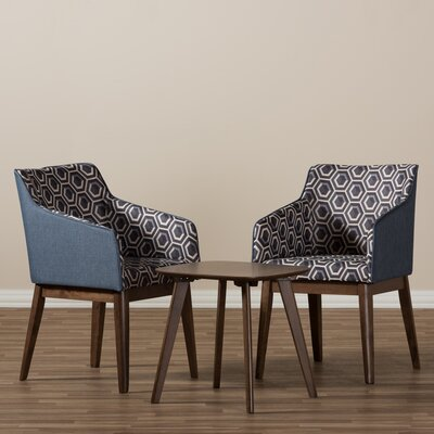 Eric Mid-Century Modern 3 Piece Lounge Chair and Side Table Set