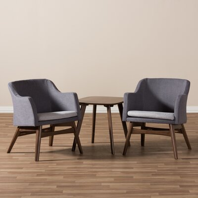 Victoria Mid-Century Modern 3 Piece Lounge Chair and Side Table Set