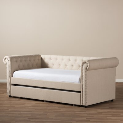 Baxton Studio Mabelle Modern and Contemporary Fabric Daybed with Trundle Finish: Beige