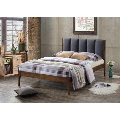 Rachele Mid-Century Fabric and Wood Platform Bed Size: King, Color: Dark Gray