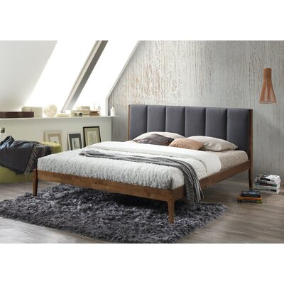 Baxton Studio Rachele Mid-Century Fabric and Wood Platform Bed Color: Dark Gray, Size: King