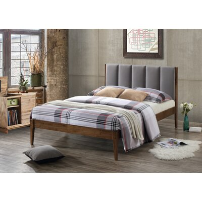 Rachele Mid-Century Fabric and Wood Platform Bed Size: King, Color: Light Gray