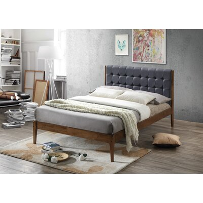 Baxton Studio Clemente Wood Platform Bed Upholstery: Dark Gray, Size: Full