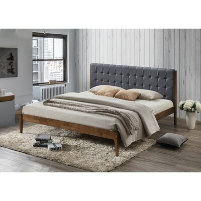 Baxton Studio Clemente Wood Platform Bed Upholstery: Dark Gray, Size: King