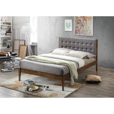 Baxton Studio Clemente Wood Platform Bed Size: Full, Upholstery: Light Gray