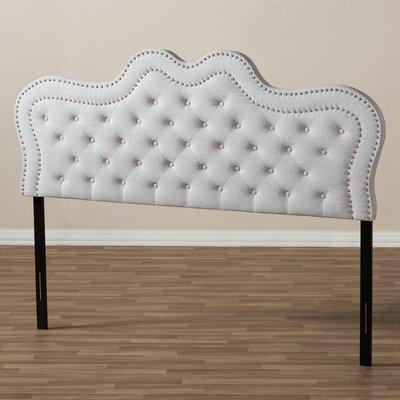 Baxton Studio Michaela Panel Headboard Upholstery: Grayish Beige, Size: Queen