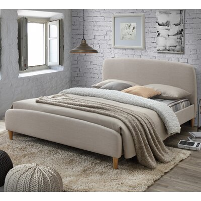 Georgio Upholstered Platform Bed Upholstery: Light Beige, Size: Queen