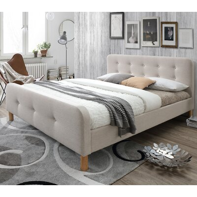 Riccardo Mid-Century Fabric Upholstered Platform Bed Size: King, Color: Light Beige