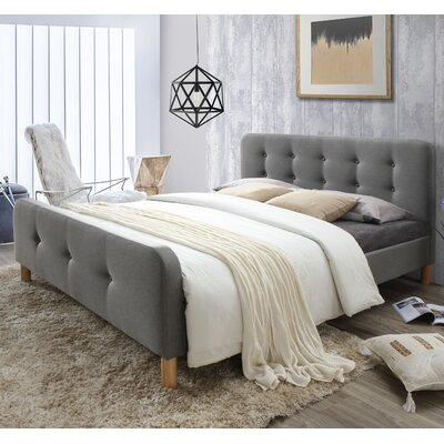 Riccardo Mid-Century Fabric Upholstered Platform Bed Size: Queen, Color: Light Gray