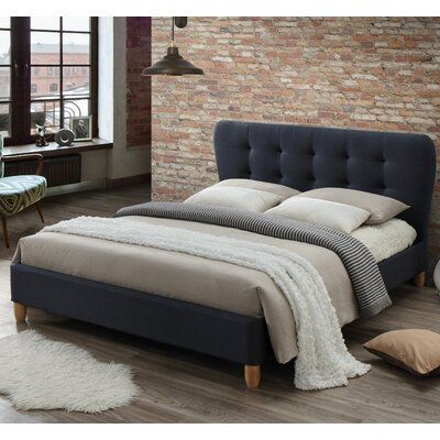 Baxton Studio Rosina Upholstered Full Platform Bed Color: Charcoal Gray, Size: Full
