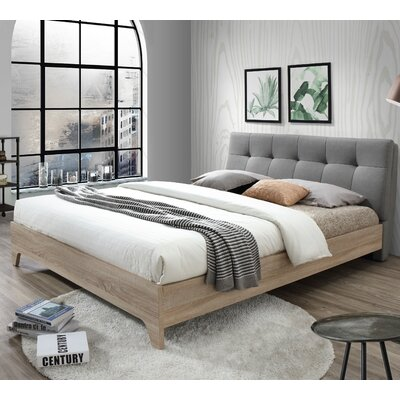 Rebecca Upholstered Full Platform Bed Size: Full, Color: Light Gray