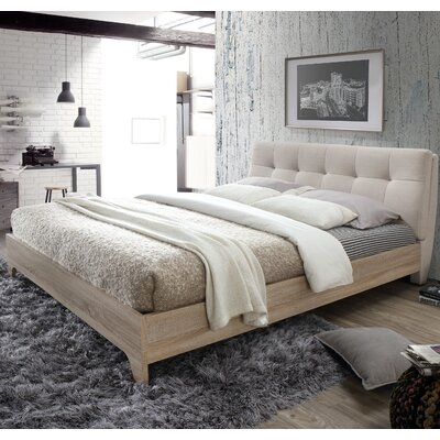 Rebecca Upholstered Full Platform Bed Size: Full, Color: Light Beige