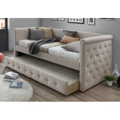 Baxton Studio Marea Daybed with Trundle Color: Light Beige