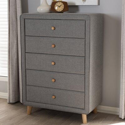 Tito Mid-Century Upholstered 5 Drawer Chest Color: Gray
