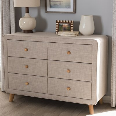 Tito Mid-Century Upholstered 6 Drawer Dresser Color: Beige