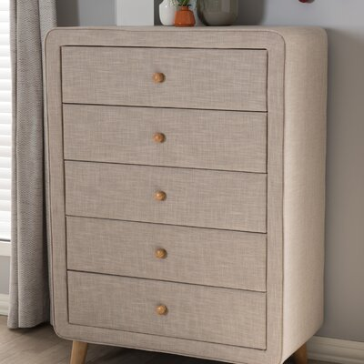 Tito Mid-Century Upholstered 5 Drawer Chest Color: Beige