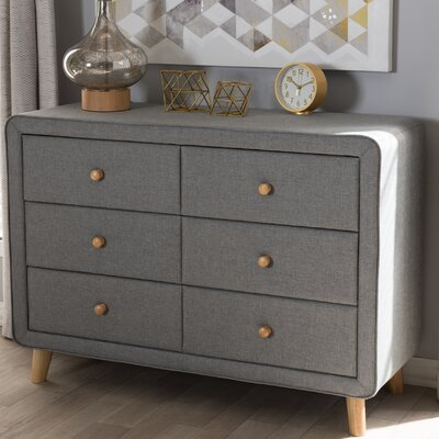 Tito Mid-Century Upholstered 6 Drawer Dresser Color: Gray