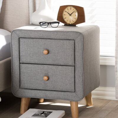 Tito Mid-Century Upholstered 2 Drawer Nightstand Color: Gray