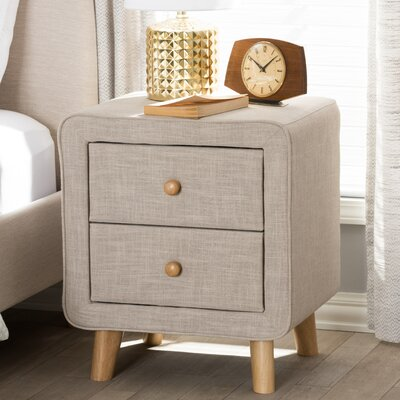 Tito Mid-Century Upholstered 2 Drawer Nightstand Color: Beige