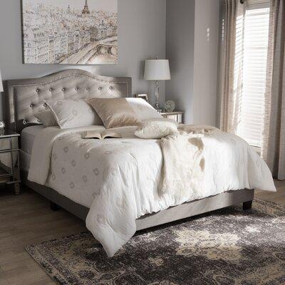 Roberto Fabric Upholstered Panel Bed Size: King, Color: Light Gray