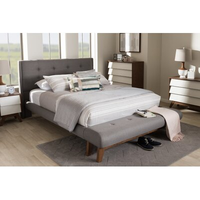 Serena Fabric Upholstered Platform Bed Upholstery: Gray, Size: Queen